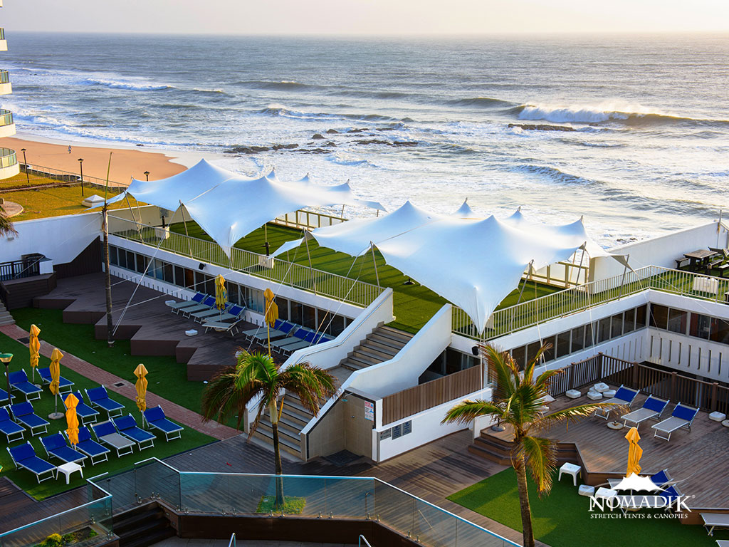Custom made stretch tent at the coast