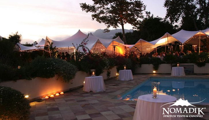 Stretch tent hire for poolside wedding