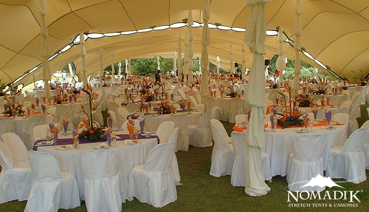 Orange and purple corporate stretch tent décor