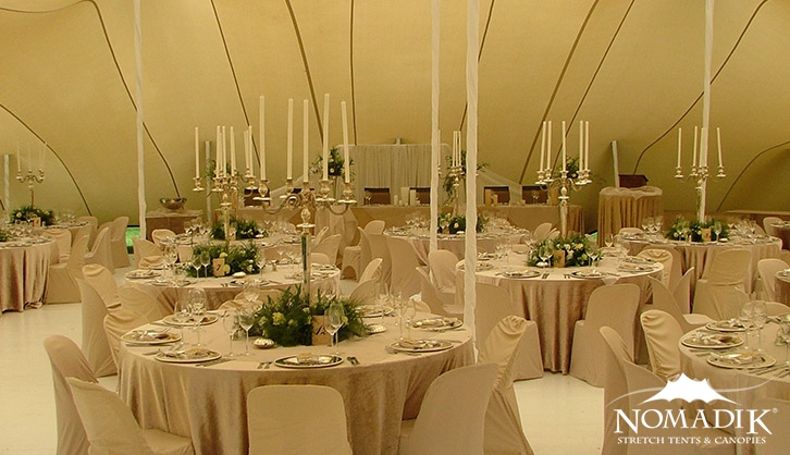 Ivory wedding stretch tent interior