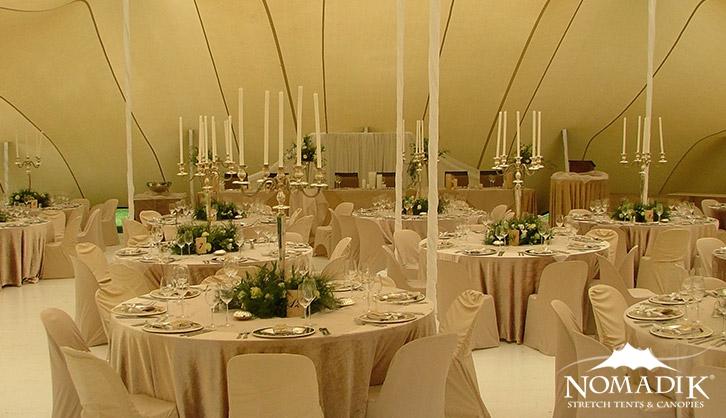 Ivory wedding stretch tent interior