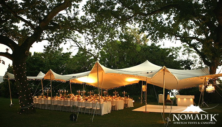 Wedding stretch tent under oak trees