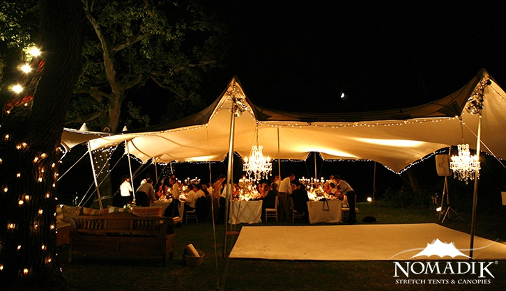 Stretch tent strung with fairy lights