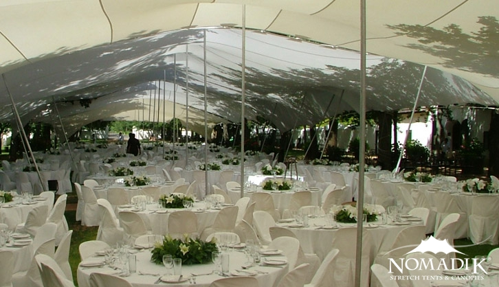 White stretch tent for company year-end function