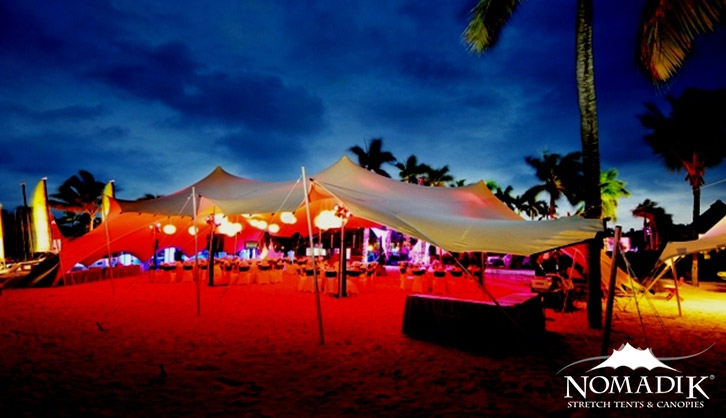 Stretch tent for beach party in Mauritius