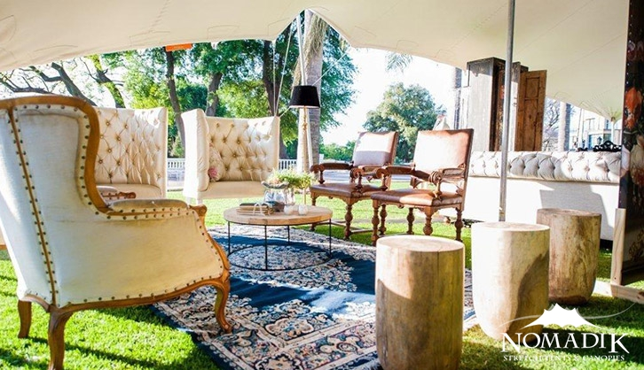 Stretch tent creates living room at expo