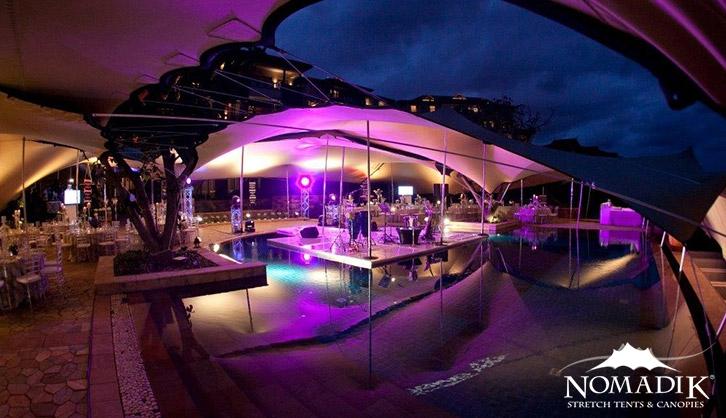 Beautifully lit stretch tent at Zimbali