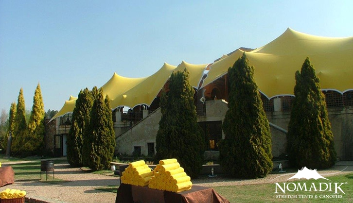 Yellow stretch tents with matching accessories