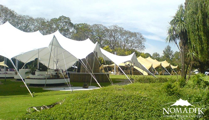 Stretch tents installed in botanical gardens