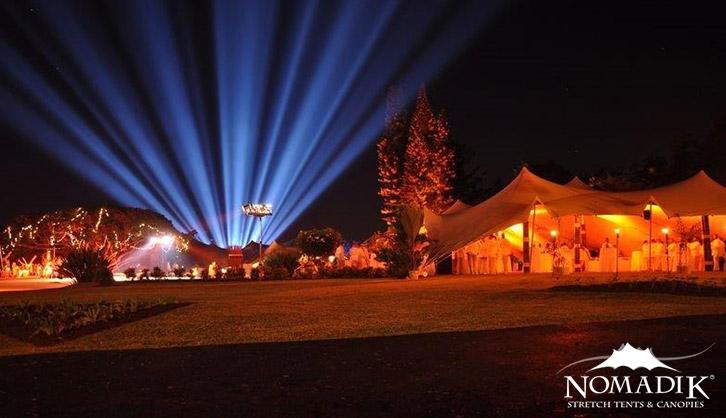 Spectacular laser show at night garden venue