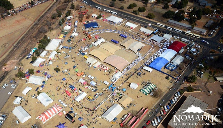 Aerial view of Great Train Race stretch tents