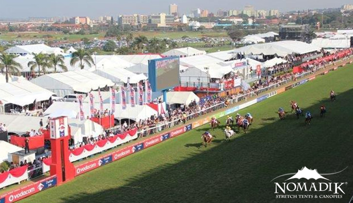 Stretch tent marquees at the Durban July