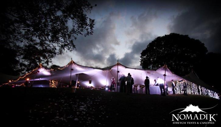 Night event under a stretch tent
