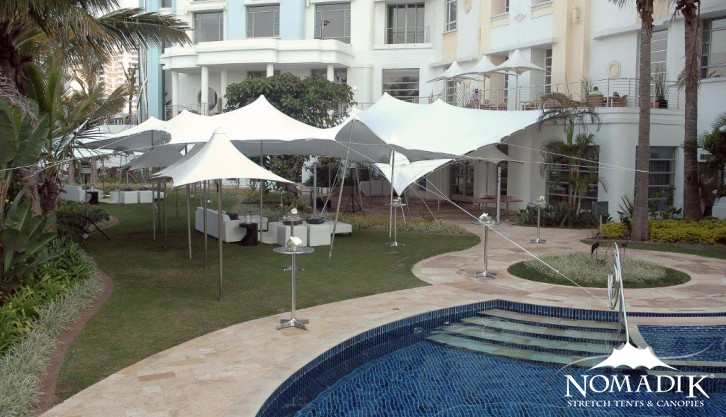 Stretch tent hire outside hotel