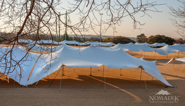 White stretch tents at Walk the Talk