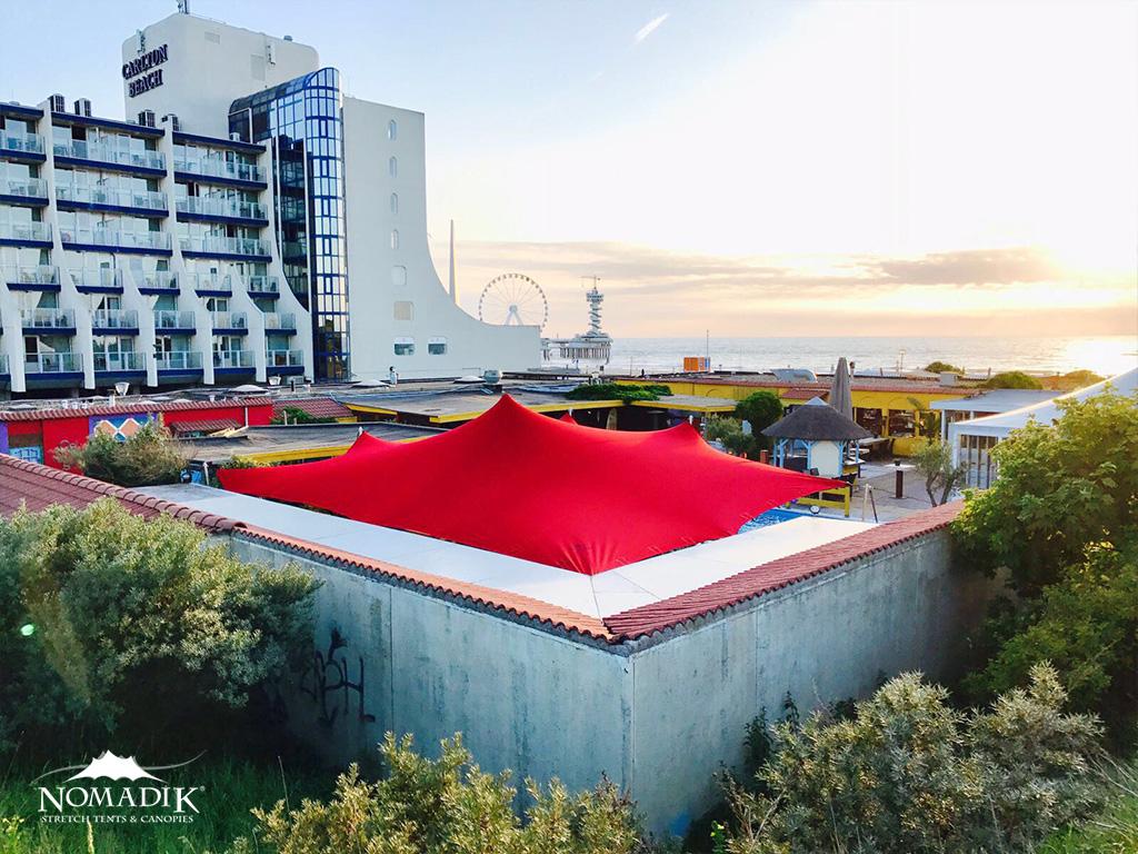 Beach bar red stretch tent